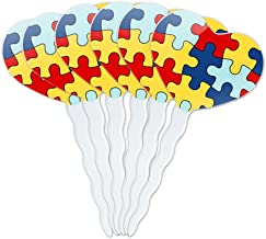 GRAPHICS & MORE Autism Awareness Diversity Puzzle Pieces Heart Love Cupcake Picks Toppers Decoration Set of 6