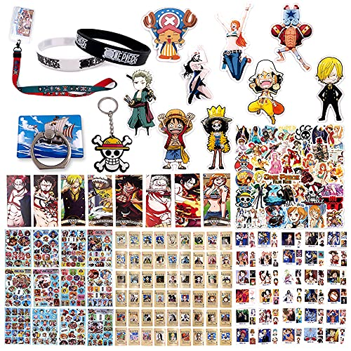 Fantere Fan Set Compatible with One Piece with Badge,Lanyard, Keychain, Lomo Card, Sticker, Phone Stand, Playing Card, Sticker, Wristband, and Bookmark