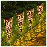 LITAKE Decoartive Garden Lights Outdoor,Metal Cone Solar Lights Pathway, Waterproof Solar Stake Lights with Flower Projection for Courtyard Garden Walkway,4 Packs