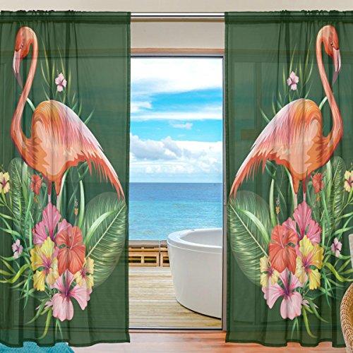 yibaihe Fenster Vorh?nge, Gardinen Platten Voile Drapes T¨¹ll Vorh?nge Flamingo und Tropical Flower Muster 139,7?cm W x 198,1?cm L 2?Eins?tze f¨¹r Wohnzimmer Schlafzimmer