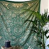 MOMOMUS Tapiz Mandala Oro - 100% Algodón, Grande, Multiuso - Pareo/Toalla de Playa Gigante - Alfombra/Manta Antiarena XXL - Verde,210x230 cm