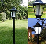 Farola de energía solar para jardín, iluminación de patios, caminos y vallas de estilo de corte real, Blanco, 16x16x61.5cm 2.0volts