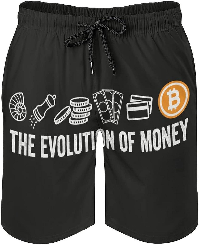 B&MAVIS Money Evolution Men's Summer Quick Dry Swim Trunks Casual Board Shorts Beachwear for Boys Men