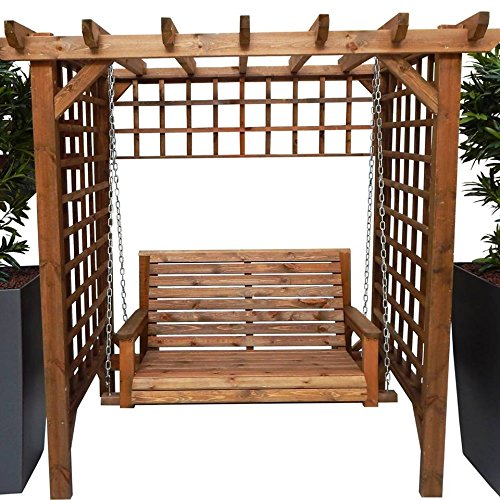 STAFFORDSHIRE GARDEN FURNITURE WOODEN GARDEN FURNITURE ARBOUR GARDEN SWING ARBOUR SEAT PAGODA TRELLIS SEAT AND ASSEMBLY