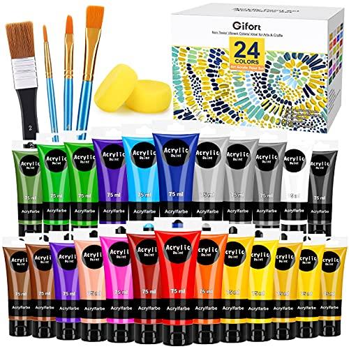 Gifort Pinturas Acrílicaa, 24 x 75 ML Kit de Pintura Acrílica Manualidades con 4 Pinceles para Tela Lienzo Madera Papel, con Colores Vibrantes para Artistas, Principiantes, Niños