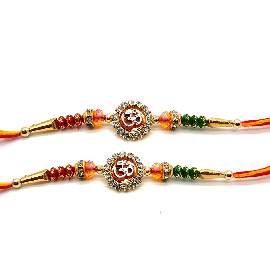 Khandekar Set of 2 Multi Coloured Rakhi with Om Design with Coloured Beads for Giving Gift to Brother, Color Vary Design