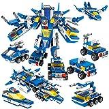 Robot STEM Toy Briques de construction 6 en 1 Jouets avec voitures de police, chars, figurines d'avion et de navire de guerre pour un jeu créatif (553 pièces) (Robot de la police militaire 6 EN 1)