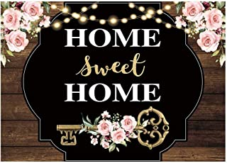 Funnytree 7x5FT Housewarming Home Sweet Home Photography Backdrop Key Bridal Shower Party Decoration Flower Rustic Wood Background Photo Booth