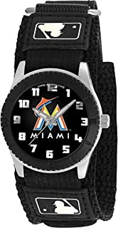 Game Time Boys' Rookie Black Japanese-Quartz Watch with Canvas Strap, 20 (Model: MLB-ROB-MIA