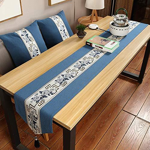 Branfan Tafelloper van katoen en linnen, retro tafelloper, Japans, TV-kast 40 x 300 cm