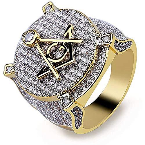 LH&BD Hip Hop 14k Chapado en Oro Helado en el Anillo masónico de Diamante simulado para Hombres,8
