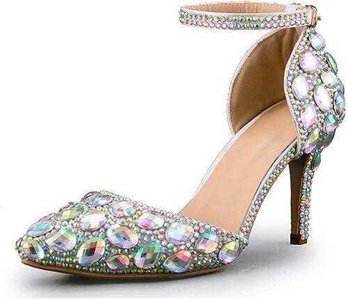 Hhor Bride à la Cheville pour Femme, Femme, Argent, Chaussures de mariée avec Diamants Strass UK 2.5 (Couleuré   -, Taille   -)  remise
