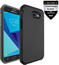 Galaxy J3 Prime Case,Galaxy J3 Eclipse / J3 Mission / J3 Emerge/Amp Prime 2 / Express Prime 2 / Sol 2 / J3 Luna Pro / J3 2017 Case,IDEA LINE(TM) Hybrid Hard Slim Fit Cover + Tempered Glass - Black