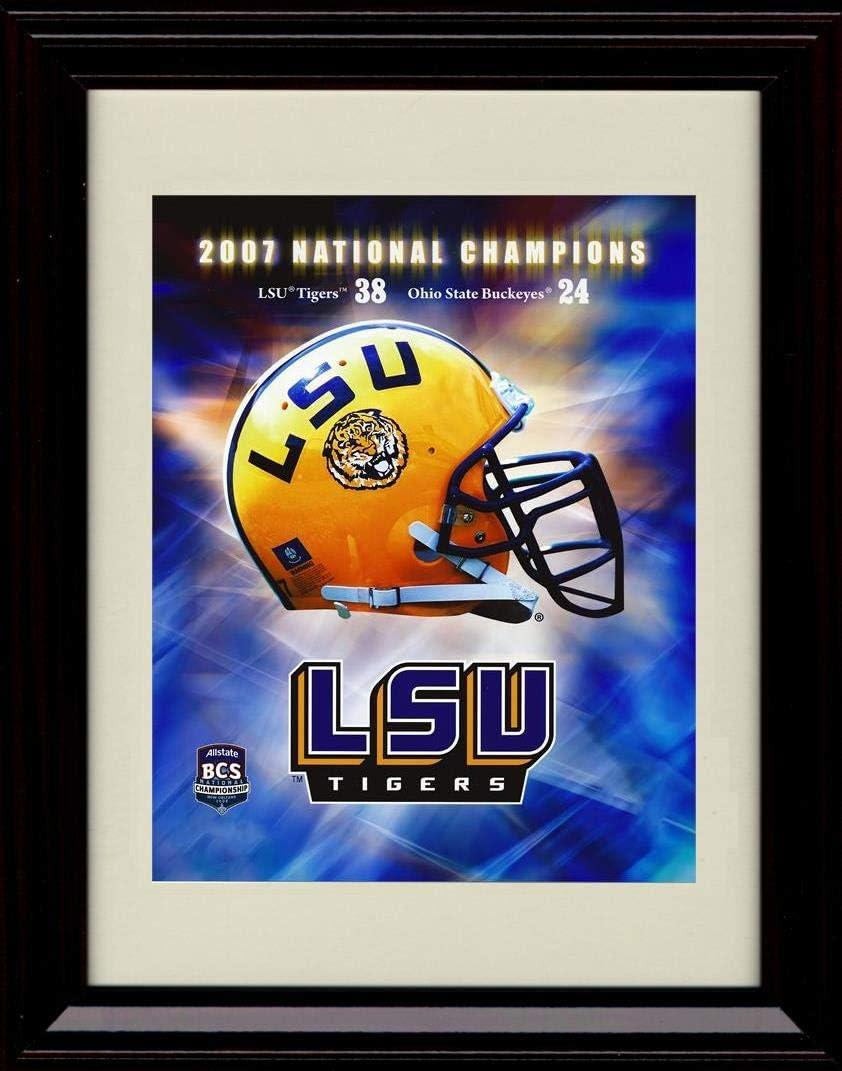 Superlatite Framed 2007 National Champions Autograph LSU Replica Tig Print Great interest -