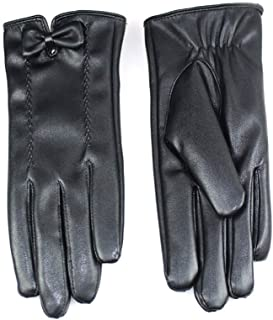 SGJFZD Winter Gloves Outdoor Leather Touch Screen Texting Riding Gloves for Women Windbreak Gloves (Color : Black, Size : OneSize)