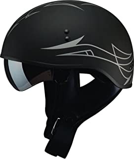 GMAX Unisex-Adult Full-face Style G1658076 Gm65 Pin Naked Half Helmet Flat Black/Dark Silver l (Large)