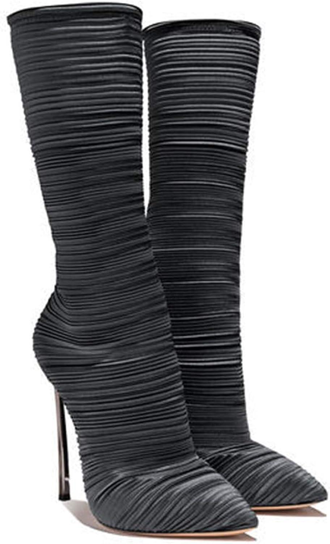 XWQYY Damen High Heel wies plissee FashionStiefel Metall geformte und weibliche Stiefel Damenschuhe,schwarz-36EU