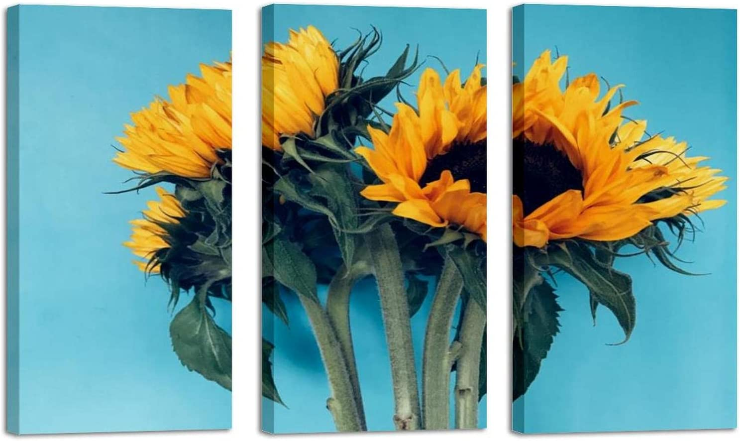 3Pcs Finally popular brand Sunflower Blue Wall safety Art Oil Print The On Canva Painting