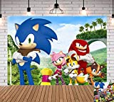 Sonic Hedgehog Photography Backdrop Newborn Baby Shower Palm Mountain Scenery Photo Background Baby Children Happy 1st Birthday Banner Decorations Party Supplies Vinyl 5x3ft Photo Booths Cake Table