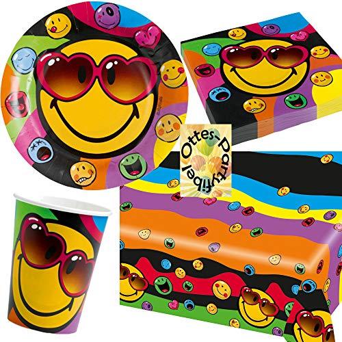 HHO Emoji-Party-Set Smiley Express Yourself Emoticon Partyset 53tlg. für 16 Gäste 16 Teller 16 Becher 20 Servietten 1 Tischdecke