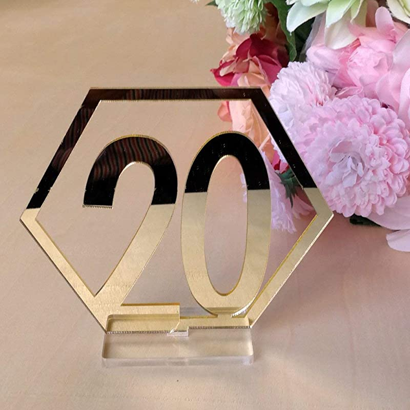 Velidy Table Numbers 1 20Wedding Acrylic Standing Table Numbers With Holder Base For Wedding Party Events Or Catering Decoration Gold