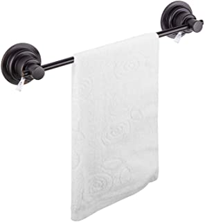JiePai Suction Cup Towel Bar,Removable Modern Vacuum Suction Towel Holder for Bathroom Door Adhesive Towel Bar Suction Towel Rack Holder (Suction Towel Bar-16 inch Rubbed Bronze)
