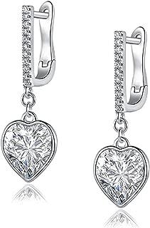18K White Gold Hypoallergenic Crystal Leverback Earrings   Heart Earrings for Women   Using Swarovski Crystal Elements