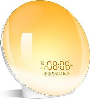 Eveil Lumière LED Radio Réveil Matin Lumineux Lampe de Chevet 20 Niveaux de Luminosité Simulateur d'Aube et Crépuscule 2 R...