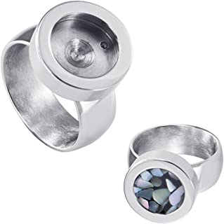 Quiges Stainless Steel Smooth Shiny Silver Interchangeable Mini Coin Ring 12mm with Screw Top (various sizes)