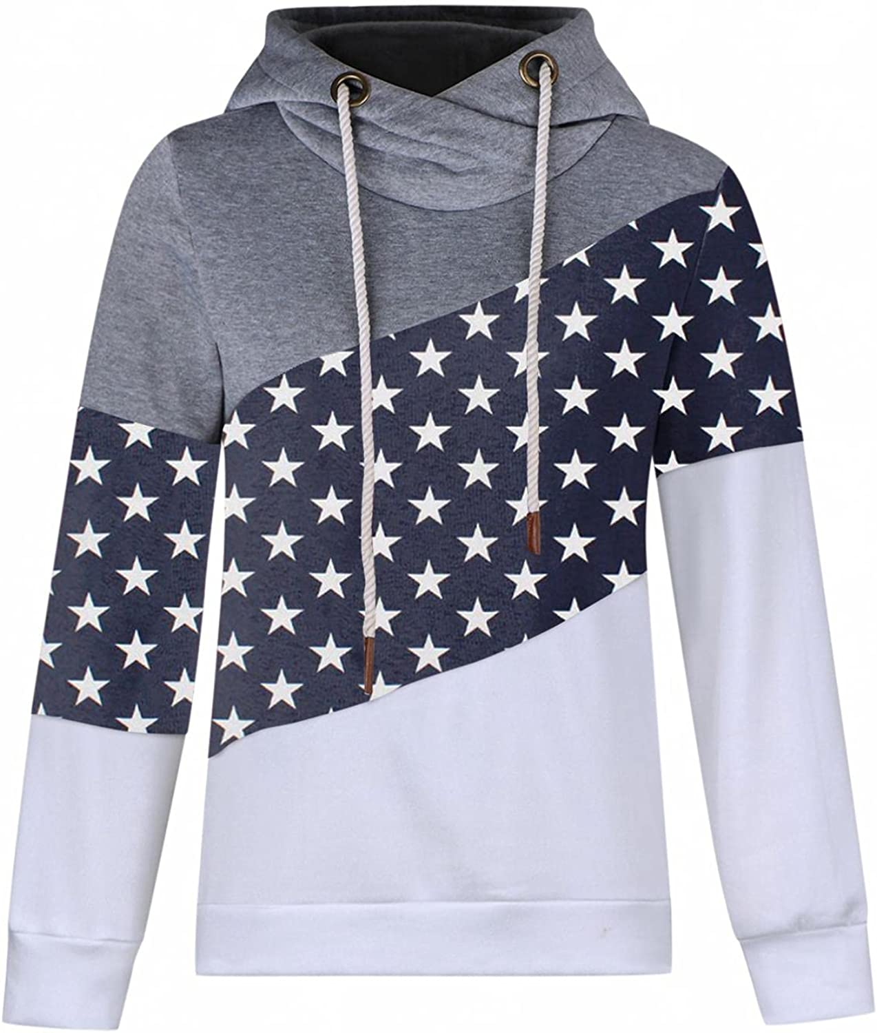 Hotkey Hoodie for Women, Womens Fashion Sweatshirt Turtleneck Long Sleeve Tops Stars Print Casual Hooded Pullover with Pocket
