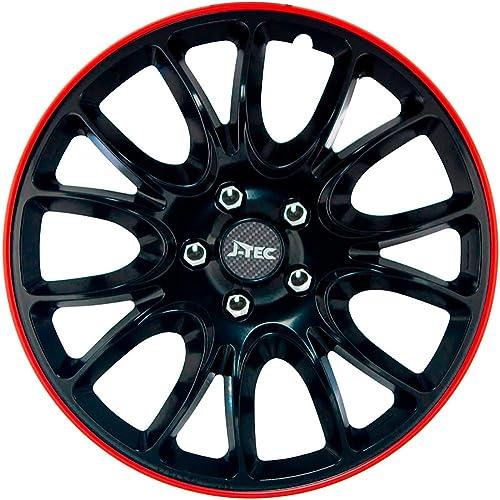 Jeu d'enjoliveurs J-Tec Hero GTR 16-inch noir/bord rouge