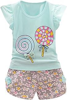 Conjuntos Bebé Niña, 2pcs Niños Bebés Niño Camiseta Mangas Cortas Ropa Lolly Tops Y Pantalones Verano Ropa Conjunto Impresión Floral Suave Ropa Pequeños Niños