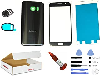 (md0410) Black Onyx Front Outer Glass Lens, Back Cover, Camera Lens Flash Cover Replacement Part Compatible Galaxy S7 G930 + Repair Tools Kit (LCD Screen & Touch digitizer not Included)