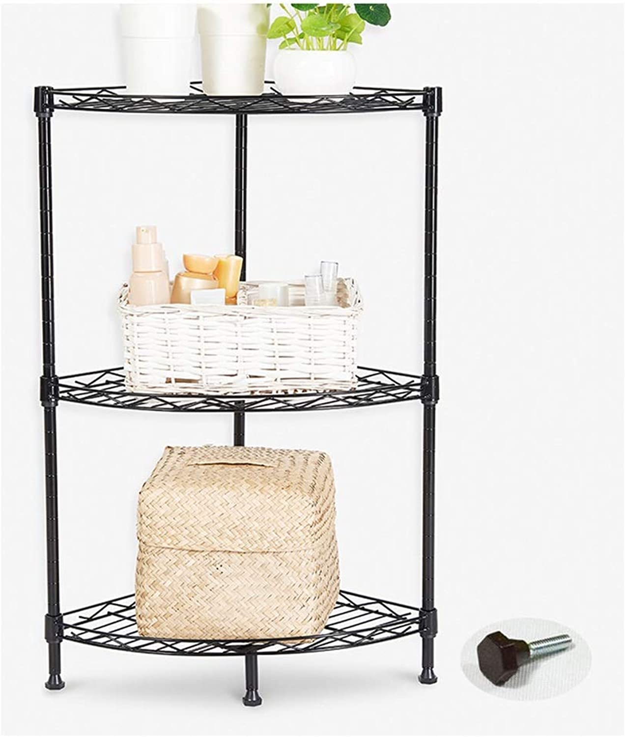 XLong-Home Fan-Shaped Shelf Corner Frame Bathroom Trolley Rack Living Room Storage Rack Three-Tier Rack Black
