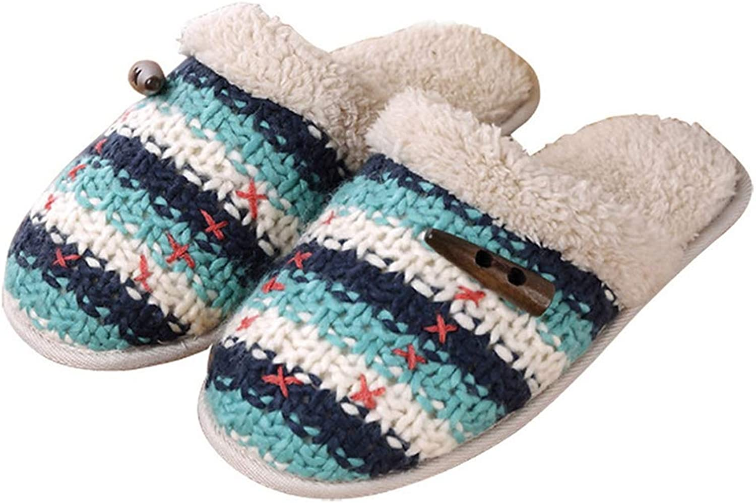 ASO-SLING Women's Sweater Knit Memory Foam Slipper Terry Cloth Anti Skid Indoor Outdoor Slip-on House shoes