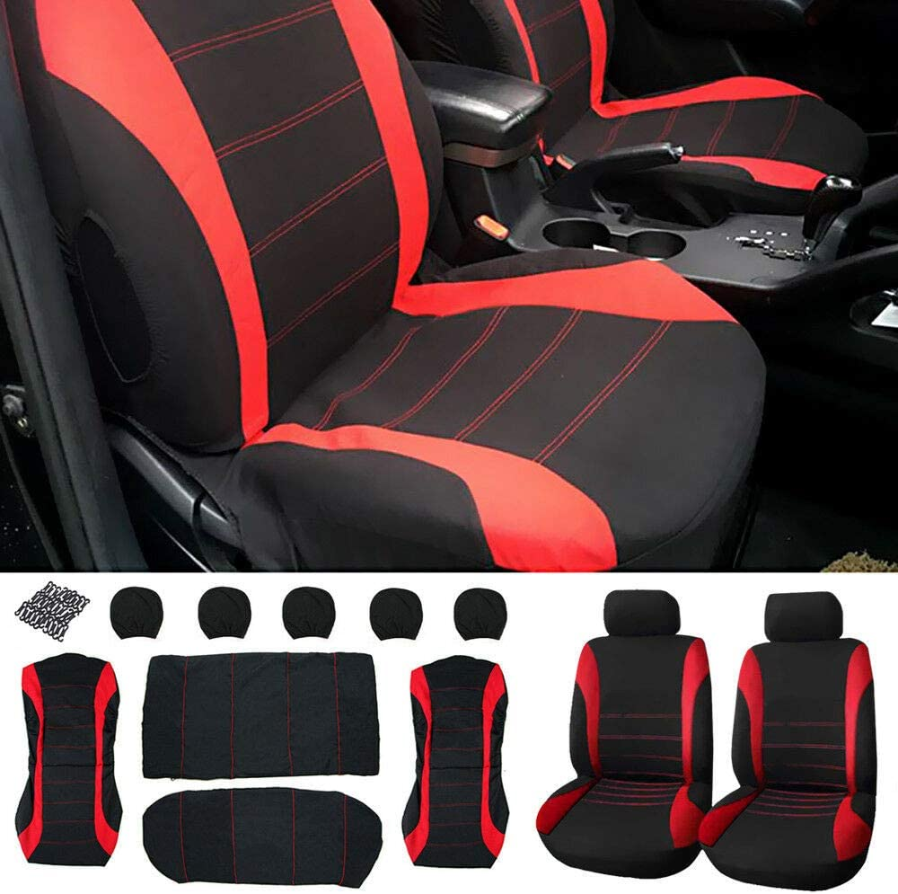 Blue 9Pcs Car Set Full Seat Cover Universal Seat Protection Cloth Art Auto Interior Decoration for Four Seasons