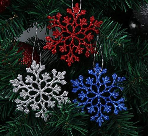 Adorfine Weihnachten Schneeflocken 36 Stück Glitter Schneeflocken Ornamente Kunststoff Funkeln Weihnachtsbaum Anhänger für Weihnachtsdeko Advent Winter Deko Fensterdeko(6 Farbe,10cm)