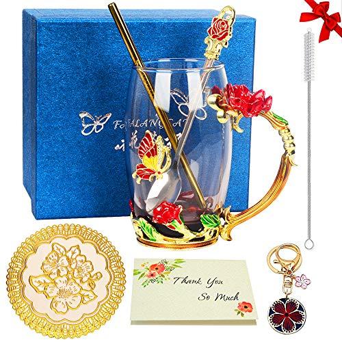 Geschenk für Frauen, Rote Rose Glas Teetasse Kaffeetassen Reisebecher mit Durchdachtem Blumengriff und Schönen Löffel Glück Schlüsselbund für Freundin Liebhaber - 12 oz