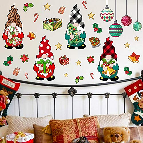 Stology Christmas Gnomes Wall Decals, Buffalo Plaid Check Scandinavian Tomte Stickers Merry Xmas Leopard Elf Decor, Home Kitchen Fridge Decorations Nursery Room Art Winter Holiday Party Supplies