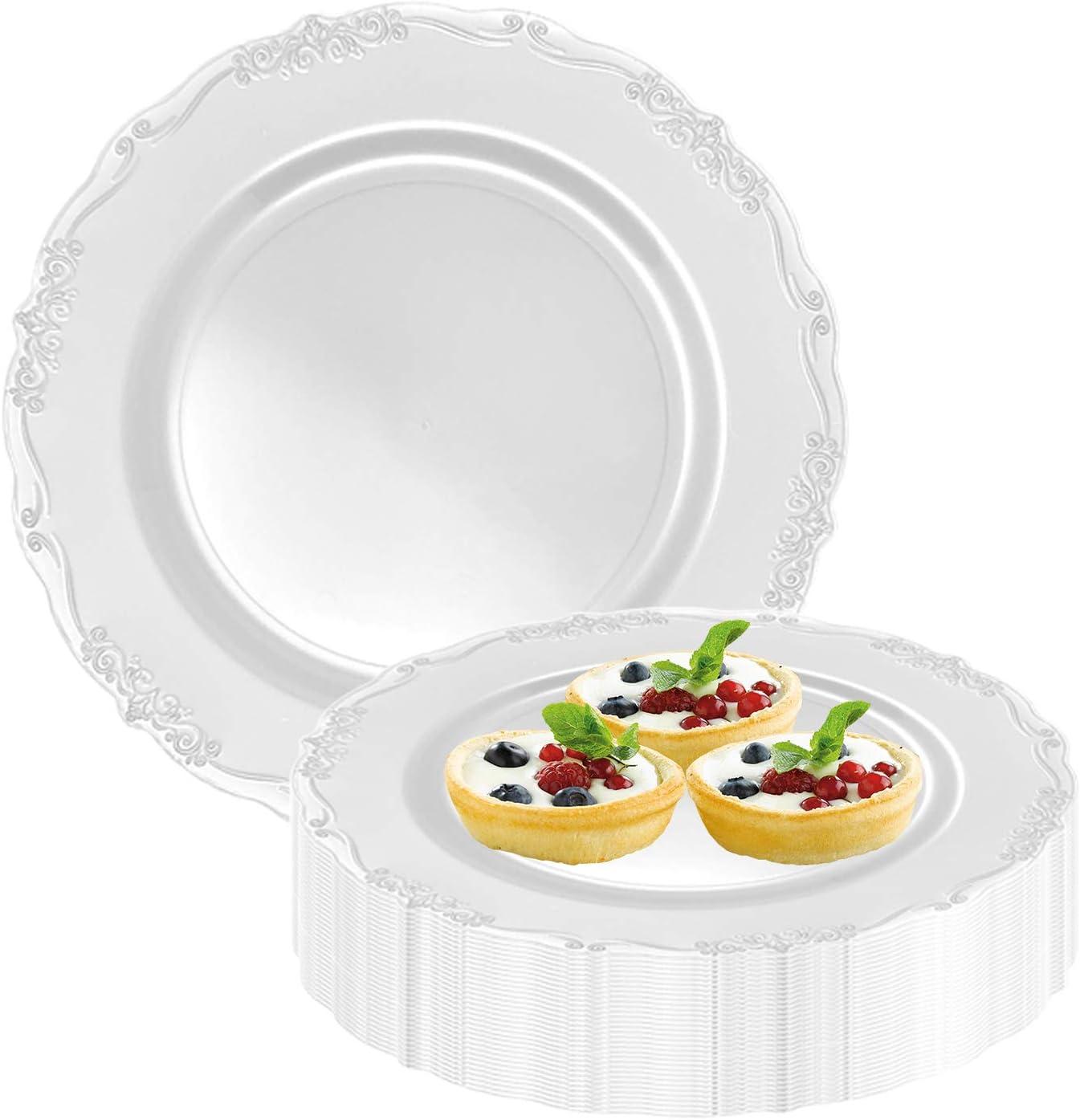 Elegant Disposable Plastic Dessert Plates 120 Pcs Our shop OFFers Deluxe the best service 7.5