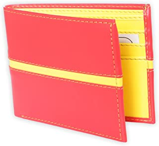 Just Click JC-W010 Men Red & Yellow Artificial Leather Wallet