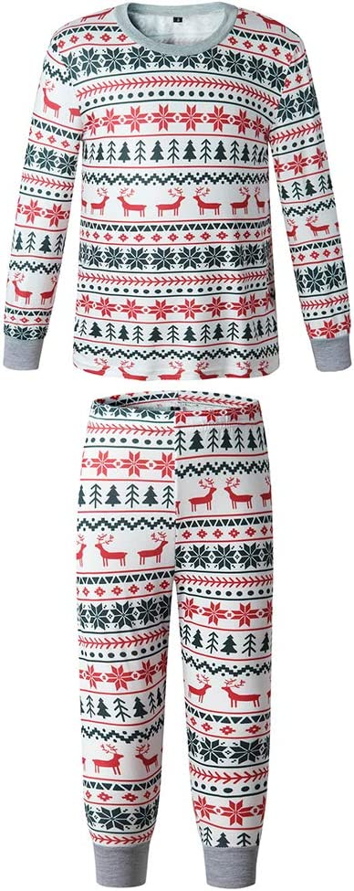 M3M Classic Family Matching Holiday Pajamas Set,Fall Winter Boys Girls Kids Striped Sleepwear,Christma Printed Parent-Child Home Wear Suit,Kid Gray,M