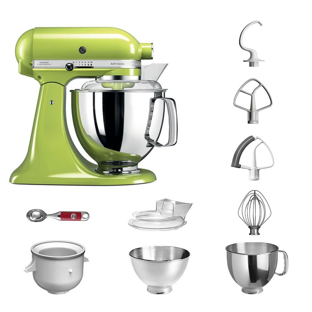 Robot de cocina, de KitchenAid, juego Artisan 5KSM175PS, incluye heladera y cuchara para helado para postres caseros verde manzana: Amazon.es: Hogar