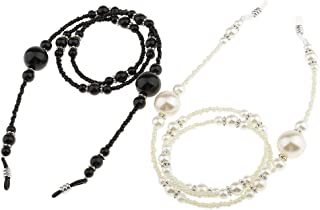 MagiDeal 2 Pieces Anti Slip Eyeglass Holder Necklace Sunglass Eyewear Neck Strap Eye Glass Sun Glasses Chain with Pearls