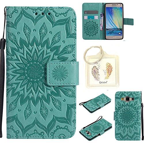 für Samsung Galaxy A5 (2015) Geprägte Muster Handy PU Leder Silikon Schutzhülle Handy case Book Style Portemonnaie Design für Samsung Galaxy A5 (2015) + Schlüsselanhänger(/*8) (1)
