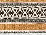 Dekostoff, afrikanisches Muster horizontal,braun-gelb,
