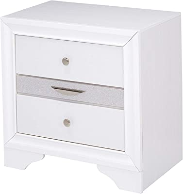 Amazon.com: Furniture of America Glaciara mesa de noche de 2 ...