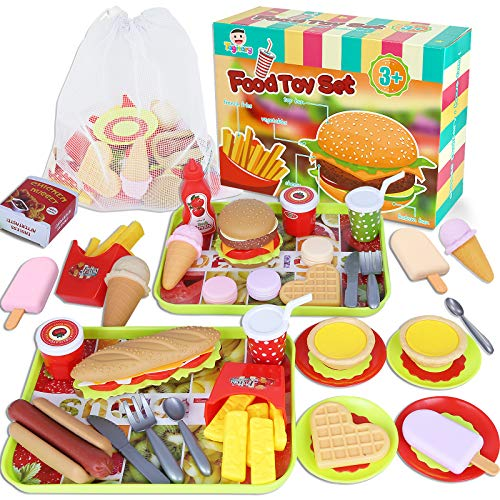 Fast Food Toys Play Food Toy Set,Kitchen Pretend Play Accessories Toy,Including Hamburger French Fries Ice Cream Hot Dog Coke and Assortment Gift Toy Set for Kids Toddlers(59PCS)