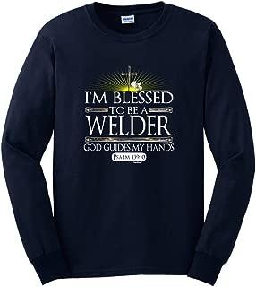 Welder Gift Blessed God Guides Christian Religious Long Sleeve T-Shirt