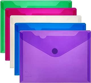YoeeJob 5 Packs A5 Poly Envelope Pocket with Hook & Loop Closure, Side Opening School Storage Bags, Assorted